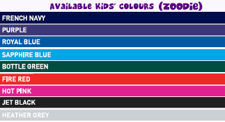 GGGear kids zoodie colours