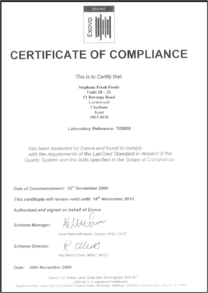Sample Certificate Of Compliance  Documents In Pdf