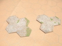 "City Hexes - set of 2 pcs totalling 7 hexes - 2""/50mm"